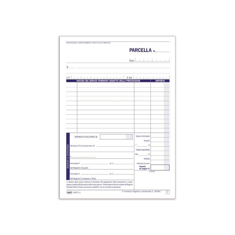 E2166c blocco fattura parcella professionisti 50x2 for Ecksofa 2 50x2 50